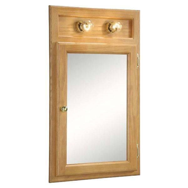 Design House Richland Nutmeg Oak-lighted 1-door Bathroom Mirror