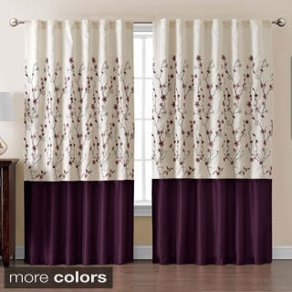 Sidney Embroidered Color Block 84 inch Curtain Panel