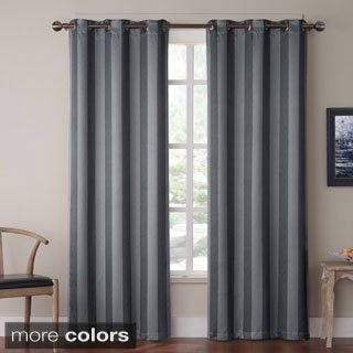 Olsen Stripe Blackout Grommet 84-inch Curtain Panel Pair
