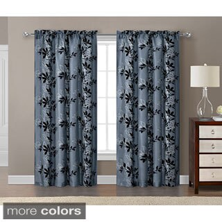 Victoria Classics Barclay Flocked with Metallic 84 inch Grommet Curtain Panel