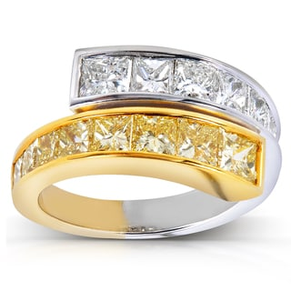 Annello 14k Two Tone Gold 3 1/2ct TDW Certified Yellow and White Diamond Ring (G-H, VS1-VS2)