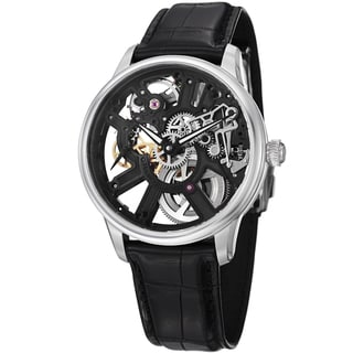 Maurice Lacroix Men's MP7228-SS001-000 MP7228-SS001-000 'MasterPiece' Black Skeleton Leather Strap Watch