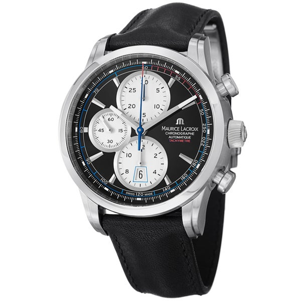 Maurice Lacroix Men's PT6288-SS001-330 PT6288-SS001-330 'Pontos' Chronograph Black Leather Strap Watch