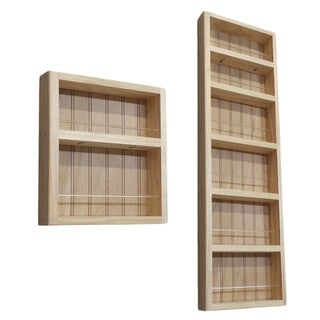 Pine Wood 2-piece 54-inch On-the-wall Spice Rack II