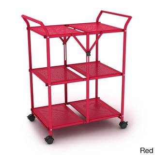 3-shelf Metal Folding Cart with Handle