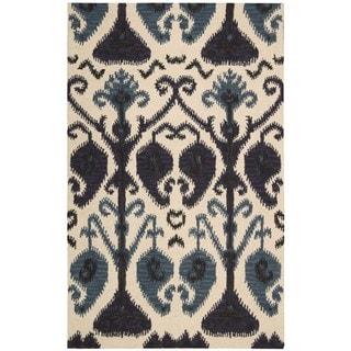 Hand-tufted Siam Beige/ Blue Wool Rug (8' x 10'6)