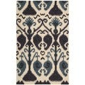 Hand-tufted Siam Beige/ Blue Wool Rug (8' x 10'6)