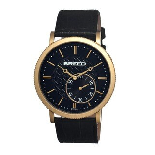 Breed Men's 'Maxwell' Black Leather Strap Analog Watch