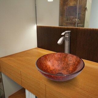 Vigo Mahogany Moon Glass Vessel Sink and Otis Brushed Nickel Faucet Set