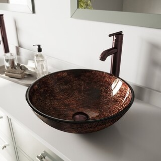 VIGO Kenyan Twilight Glass Vessel Sink and Seville Oil Rubbed Bronze Faucet Set