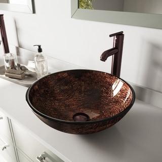 Vigo Kenyan Twilight Glass Vessel Sink and Seville Oil Rubbed Bronze Faucet Set