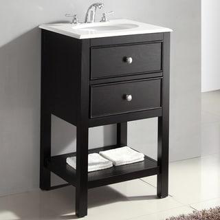 Fairfield Black 20-inch Bath Vanity and White Quartz Marble Top
