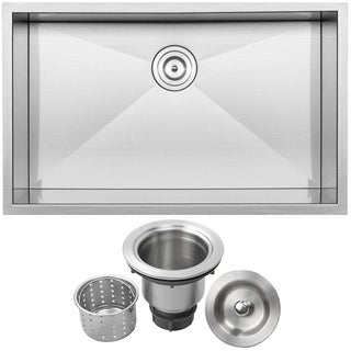 Ticor 32-inch Square 16-gauge Stainless Steel Single Bowl Undermount Kitchen Sink