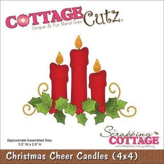 CottageCutz Die 4 X4 - Christmas Cheer Candles