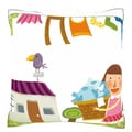 Daughter Helping Mother for Drying Clothes 18-inch Velour Throw Pillow