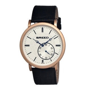 Breed Men's 'Maxwell' Black Leather Strap Silver Dial Analog Watch