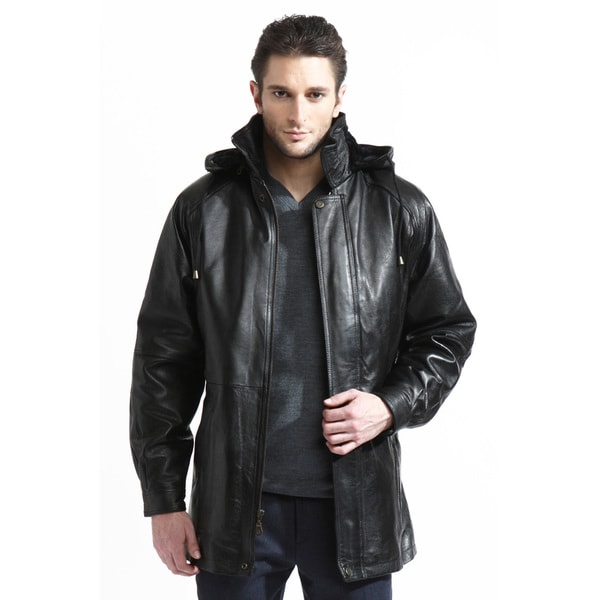 Men's Leather Belted 3/4-length Coat with Zip-out Liner