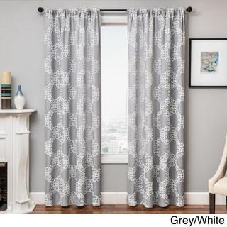 Loren Embroidered Rod Pocket Curtain Panel