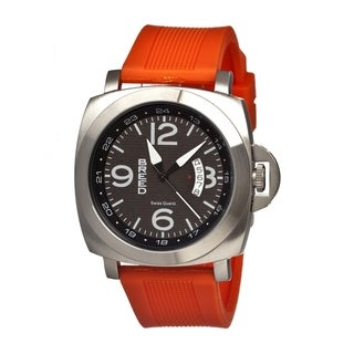 Breed Men's 'Gunar' Black Rubber Orange Analog Watch