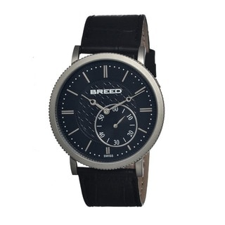 Breed Men's 'Maxwell' Black Leather Waterproof Analog Watch