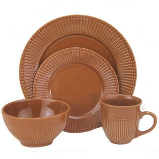 Lorren Home Trends 32-piece Embossed Brown Stoneware Dinner Set