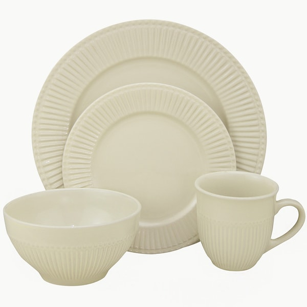 Lorren Home Trends 32-piece Embossed Ivory Stoneware Dinner Set