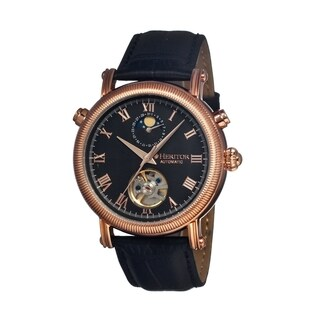 Heritor Men's 'Kornberg' Black Leather Analog Watch