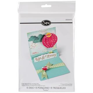 Sizzix Thinlits Dies 5/Pkg - Square Card W/Accordion Center Folds
