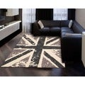 Hand-tufted Siam Charcoal Grey Wool Area Rug (5'6 x 7'5)