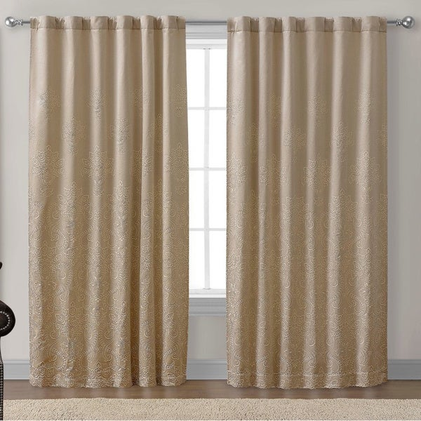 Victoria Classics Chelsea Taupe Floral-embroidered Back Tab 84 inch Curtain Panel