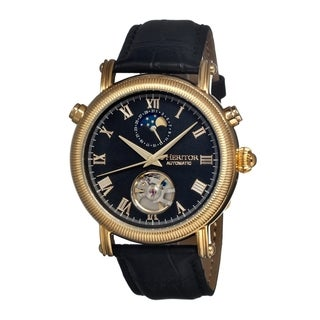 Heritor Men's 'Kornberg' Black Dial Black Leather Analog Skeleton Watch