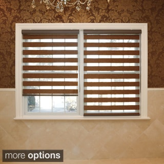Premium Duo-roller Brown Wood Look Window Shade