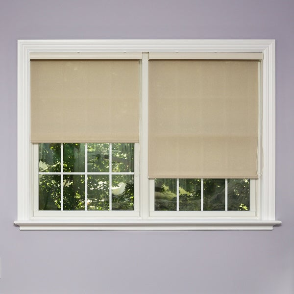 Lights Out Premium Mushroom Linen Look Roller Window Shade