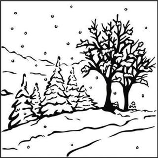 Nellie's Choice Picture Embossing Folder 5.125 X5.125 - Winter Landscape
