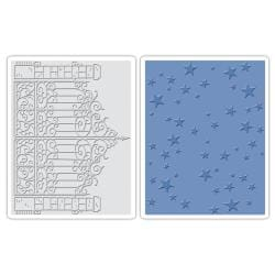 Sizzix Texture Fades A2 Embossing Folders 2/Pkg - Iron Gate & Starry Night By Tim Holtz