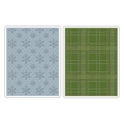 Sizzix Texture Fades A2 Embossing Folders 2/Pkg - Snowflake & Plaid By Tim Holtz