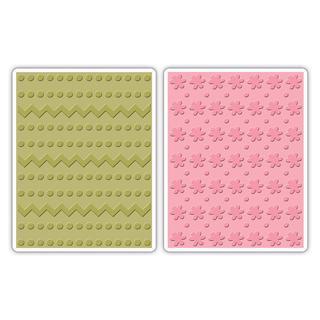 Sizzix Textured Impressions A2 Embossing Folders 2/Pkg - Dots & Zigzags/Dots & Flowers