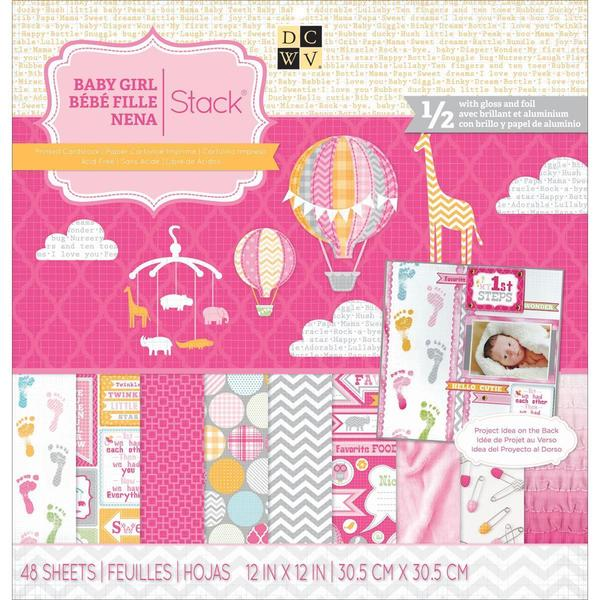 Baby Girl 3 Paper Stack 12 X12 48/Sheets - 24 Designs/2 Each, 12 W/Gloss Or Foil