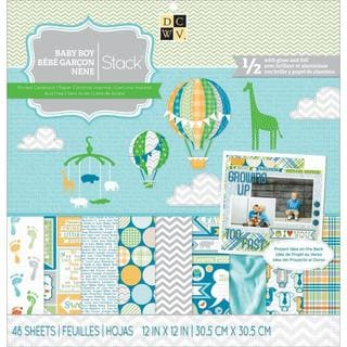 Baby Boy 3 Paper Stack 12 X12 48/Sheets - 24 Designs/2 Each, 12 W/Gloss Or Foil