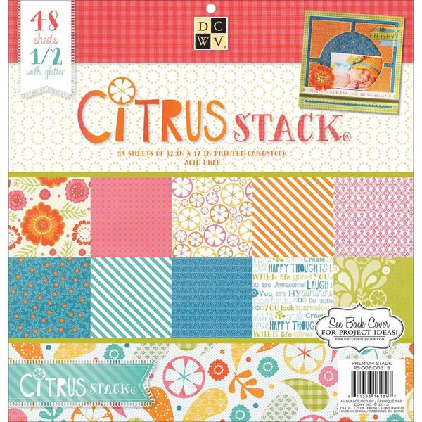 Citrus 2 Paper Stack 12 X12 48/Sheets - 24 Designs/2 Each, 12 W/Glitter