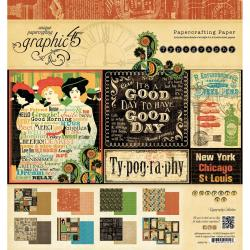 Typography Double-Sided Paper Pad 8 X8 - 24 Sheets - 12 Designs/2 Each