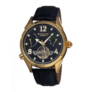 Heritor Men's Bragg Black Dial Black Leather Analog Chronograph Watch