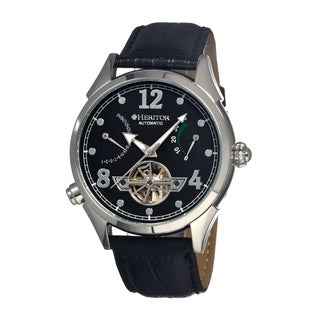 Heritor Men's Bragg Black Leather Black Dial Analog Skeleton Watch