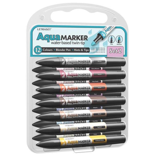 Letraset Aqua Markers Twin-Tip 12/Pkg -