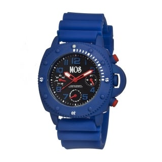 Mos Men's New York Blue Silicone Black Dial Chronograph Analog Watch