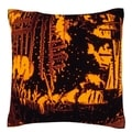 Orange/ Black Frosted Glass 18-inch Velour Throw Pillow