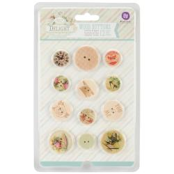 Delight Wood Buttons 12/Pkg -