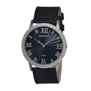 Breed Men's George Black Leather Silvetone Bezel Analog Watch