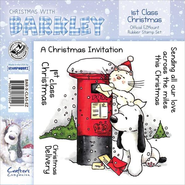 Barkley EZMount Christmas Cling Stamp Set 4.75 X4.75 - 1st Class Christmas