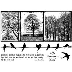 Crafty Individuals Unmounted Rubber Stamp 4.75 X7 Pkg - Birds On A Wire